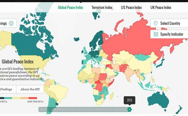 The global peace index ranks the worlds most and least peaceful go to their site to operate the interactive map publicscrutiny Image collections