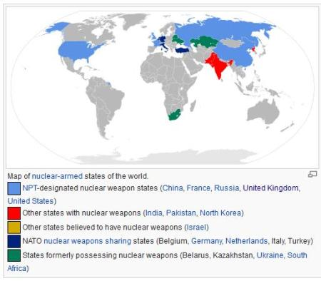 nuclear armed states map